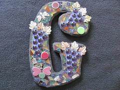 G (StJohnsGypsy) Tags: wine mosaic wallart stainedglass grapes letter ceramichearts