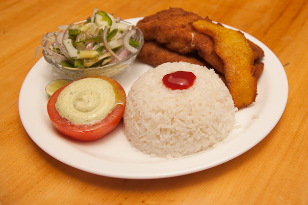 Fried Fish with Plantains, Rice, Tomato, and Salad