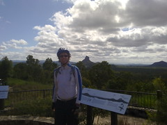 Neil at the Glasshouse Mountains lookout - about halfway through our ride.
