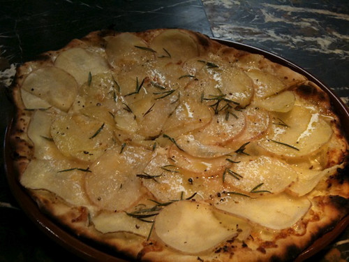 Potato, garlic, rosemary pizza