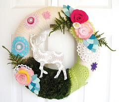 Swiss Chalet Yarn Wreath (KnockKnocking) Tags: sculpture white flower fern art wool rose modern vintage 3d moss mixed media soft pretty stag lace assemblage unique pastel interior cottage cream felt swedish screen deer yarn wreath nordic chic elk fiber granny trim simple decor printed lambswool doily dyed