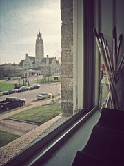 sitting in the kitchen, windows wide open, sipping on coffee (icolorinthelines) Tags: new york ny building brick architecture design interior structure rochester brushes environment tone built streetview paintbrushes rochesterny memorialartgallery cutlerunion