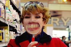 say cheese (bjorkish) Tags: portrait lauren teeth olympus magnifyingglass e3