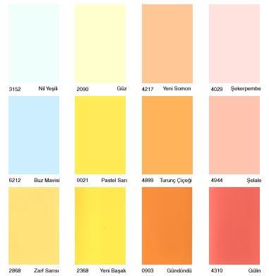 DYO renk kataloğu katalog katalogu kartelasi kartelası Nil Yeşili – Güz Somon – Şekerpare – Buz Mavisi – Pastel Sarı – Turunç Çiçeği – Şelale -Zarf Sarısı – Yeni Başak – Gündönümü – Gülin