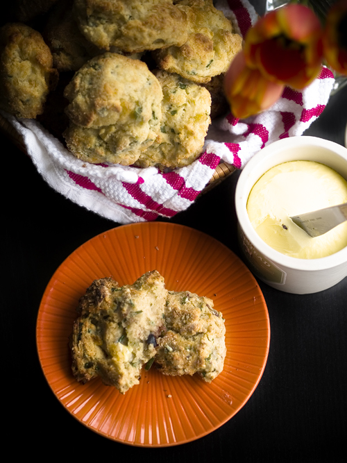 Gourmet's cheese and scallion drop biscuits |