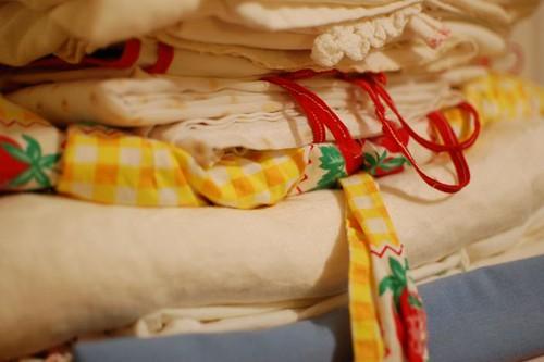 stack of fabrics