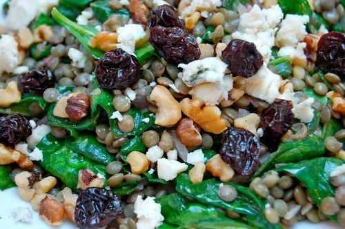 Hungry Bruno: Warm Lentil Salad with Spinach and Blue Cheese