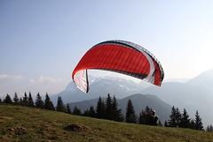 Le vent dans la voile (Larch) Tags: sky mountain france montagne vent wind ciel paragliding 74 sapin parapente hautesavoie agy concordians