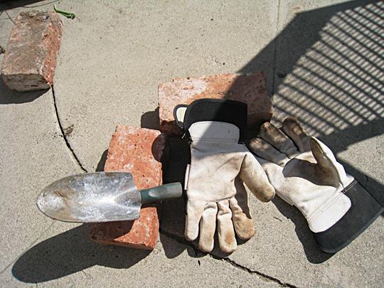 gloves+bricks+little shovel
