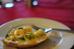 Slice of broccoli cauliflower tart