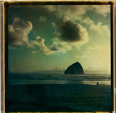 fade to black kiwanda1 (polaroidmandy) Tags: ocean beach water rock clouds oregon landscape polaroid sx70 coast sand waves pacific haystack oregoncoast haystackrock f2b pacificcity capekiwanda kiwanda fadetoblack roidweek2010