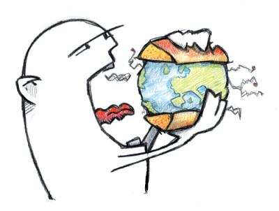 Un hombre comiéndose el mundo como si fuese una hamburguesa