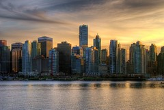 Van City Sunset (Brandon Godfrey) Tags: pictures city longexposure pink light sunset wallpaper sky urban canada reflection art water glass beautiful skyline architecture modern vancouver clouds p