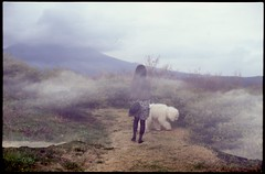 (bensn) Tags: cloud dog mountain film 50mm spring pentax f14 slide linus poodle standard emi fa 2010 lx multiexposure astia 100f