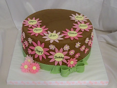 Daisy Birthday Cake (Cake is Life ~ Emily) Tags: pink brown green yellow cake daisies chocolate bow quilted ribbon fondant buttercream