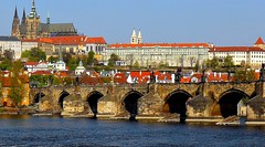 Souvenirs de Prague (jackfre2 (on a trip-voyage-reis-reise)) Tags: bridge houses red castle republic czech prague cathedral spires churches arches roofs franzkafka charlesbridge openairmuseum palaces hradcany karluvmost moldau malastrana vlatva monasteries goldencity theunforgettablepictures hundredtowers