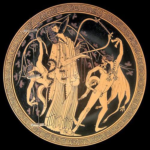Dionysos et satyres. Intérieur d'une coupe attique à figures rouges, vers 480.