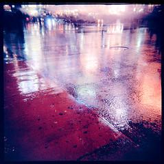 shibuya crossing (miemo) Tags: street city travel autumn urban reflection fall 6x6 film rain japan analog lights tokyo holga asia neon crossing pavement shibuya analogue agfa asphalt expired rsxii