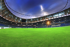 sheikh jaber al ahmad international stadium (A.alFoudry) Tags: blue sunset cloud sun green rain clouds canon ball foot eos star football big goal play stadium mark full fisheye architect international frame round huge 5d kuwait fullframe heavy