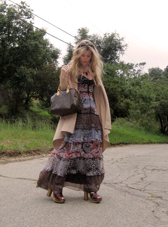 miu miu sandal clogs+ 70s dress-3