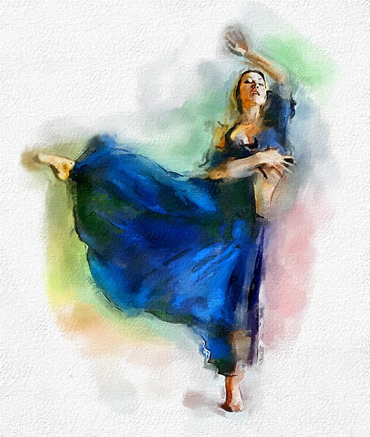 OIL SKETCH OF BALLERINA WITH RED AND BLUE, original painting by