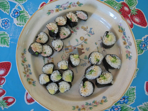 sushi: avocado, spicy tuna with asparagus, spicy asparagus