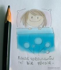 sleepyhead (bengi gencer) Tags: smile illustration pen happy spring bed hands sleep character sleepy sleepyhead linedrawing