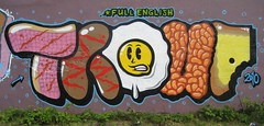 Full English (mr_la_rue) Tags: street uk summer urban sun streetart hot art english breakfast fun graffiti bacon paint character toast graf letters egg sausage bean full graff aerosol 2010 sunderland thoup