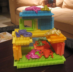 rubbery frogs in a bristle block palace