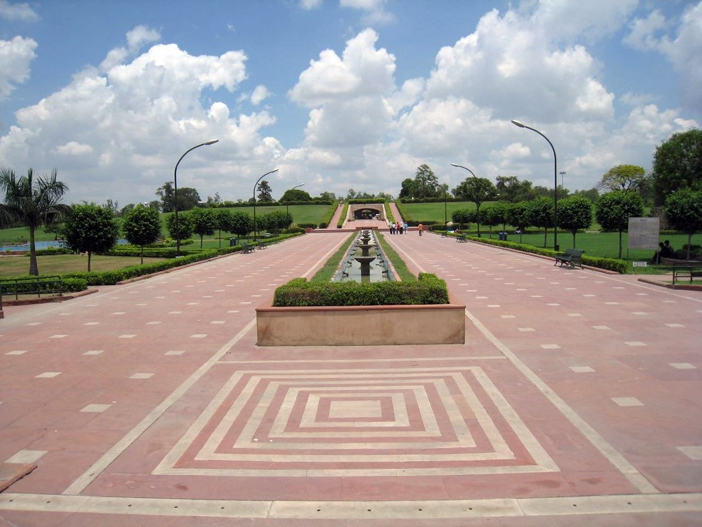 The entrance to Raj Ghat, a memorial to mark the site of Mahatma Gandhi's cremation in 1948.