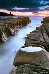 Soldiers Beach Crater (-yury-) Tags: ocean longexposure morning sea lighthouse seascape clouds sunrise landscape rocks waves australia crater centralcoast norahhead supershot soldiersbeach abigfave