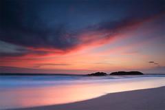 Atlantic Sunset (colin.threlfall) Tags: light sunset sea wild sky sun sunlight colour beach nature clouds canon landscape eos evening scotland sand rocks waves view walk secret atlantic 5d johnmuir sunbeams secretplaces sandwood sandwoodbay
