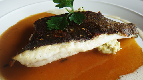 Turbot with a lobster sauce and fennel mash