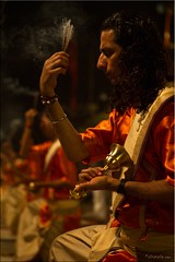 Incense and Bells (Ursula in Aus) Tags: portrait india man male night dark hand bell indian prayer goddess priest incense ganga ganges aarti ghat dasaswamedh arati aarati varanasiindia dasaswamedhghat earthasia