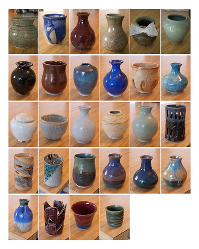 a bunch of pottery