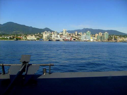 Vancouver SeaBus Transportation to Lonsdale Quay, Seabus ferry view of Lonsdale Quay and North Vancouver mountains