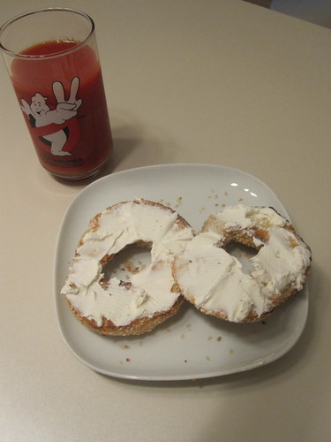 bagel with cream cheese, veggie cocktail