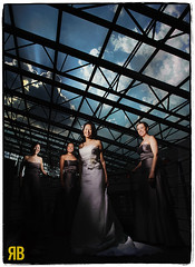 Through the Rooftop (Ryan Brenizer) Tags: nyc newyorkcity wedding sky love bride nikon group bridesmaids tribeca gothamist d3 strobist tribecarooftop flashcomposite 24mmf14g