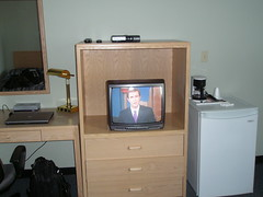 Watching CTV news in my hotel room (jimbob_malone) Tags: northwestterritories 2010 paulatuk