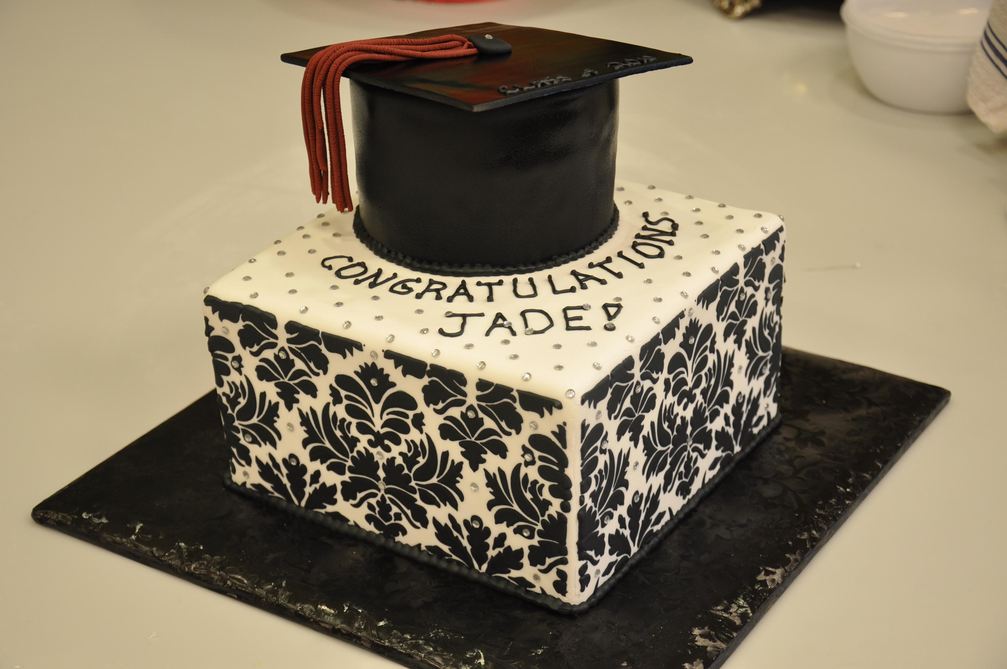 Damask Graduation Cake