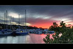 Tweed Harbour at Sunset (danishpm) Tags: blue sunset orange water clouds canon boats evening australia wideangle aussie aus 1020mm hdr tweed manfrotto sigmalens tweedheads eos450d 450d bestofaustralia mackerelclouds tweedshire sorenmartensen cloudsstormssunsetssunrises tweedharbour