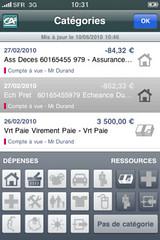 CA Mon Budget Screen : Catégories par Crédit Agricole
