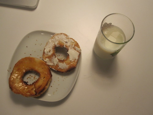 bagel with butter, cream cheese, milk