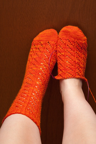 Diagonal Lace Socks