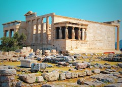 Erechtheum (Kelly the Zebra) Tags: travel vacation building architecture greek temple site nikon europe stones athens explore greece seeing northside acropolis caryatids erechtheum 400bc d40x