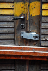 Behind bars (karin2xk) Tags: door handle wooden bars closed sweden noentry locked norrkping yellowline stergtland