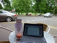 Writing at café