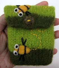 Green striped happy bees felted cozy (HandmadebyMia) Tags: bird wool bag handmade knit pouch knitted handmadebymia