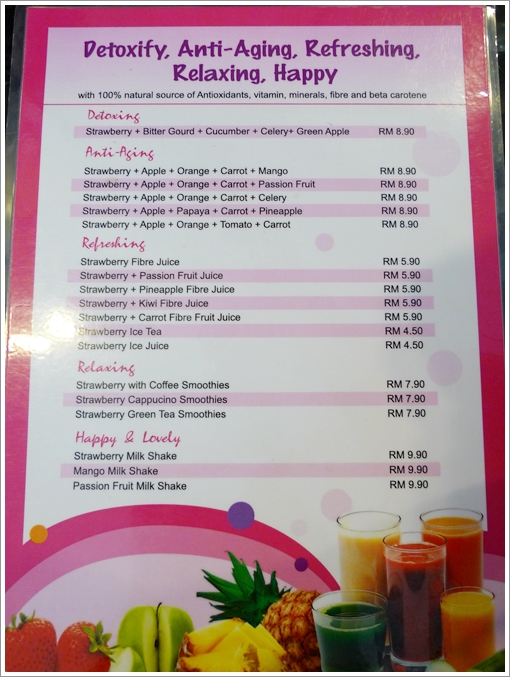 Singberry Menu