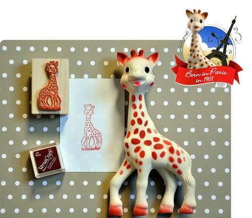 Sophie la girafe rubber stamp